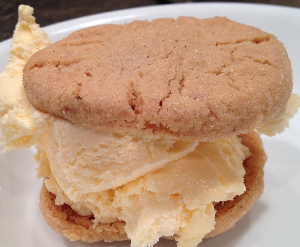 Homemade peanut butter cookie ice cream sandwich