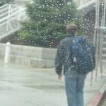 Erik walking in the rain...