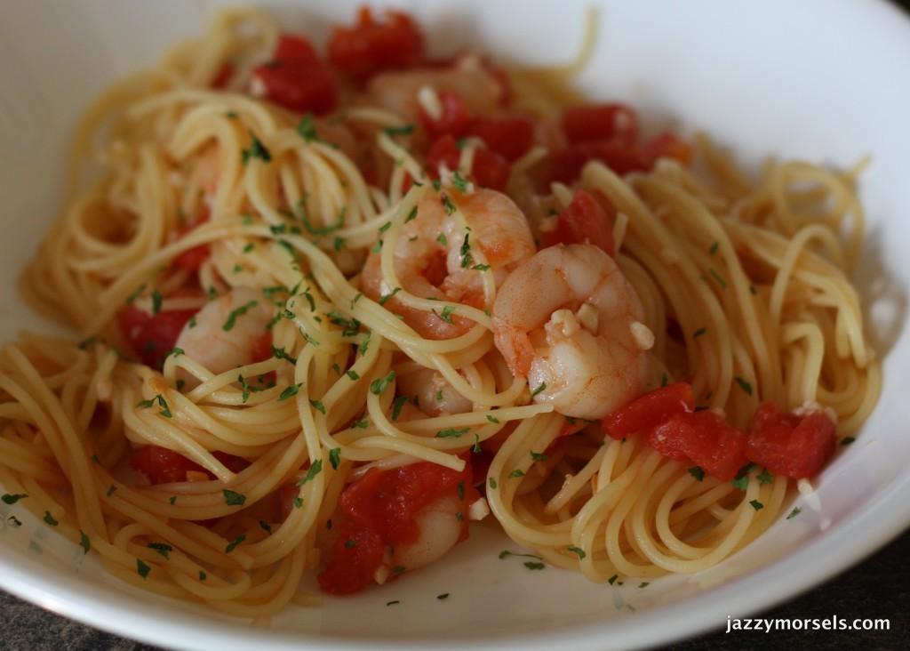 Shrimp Pasta with Hot Garlic Sauce